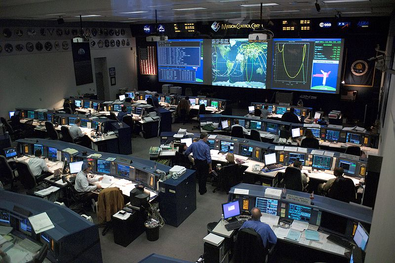 This overall view of the Shuttle (White) Flight Control Room (WFCR) in Johnson Space Center's Mission Control Center (MCC) was photographed during STS-114 simulation activities.