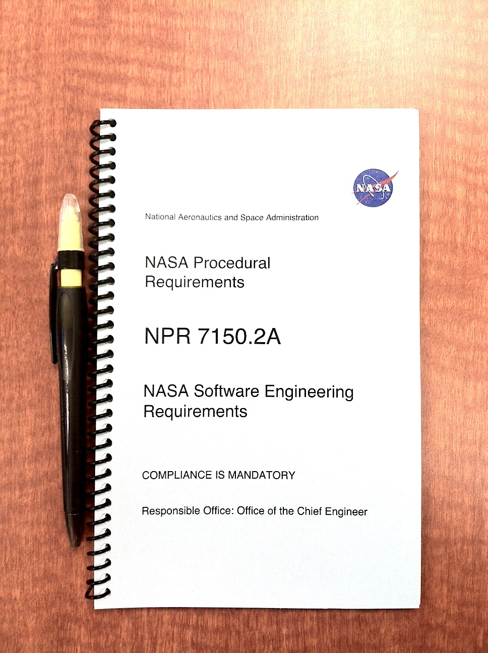 Picture of NASA Procedural Requirement 7150.2A, which outlines NASA's software engineering requirements.