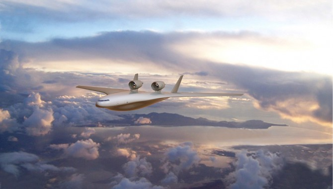This is an artist's concept of a blended wing body aircraft that could become a prototype by the year 2020.
