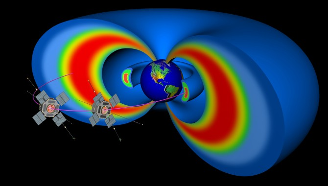 Cutaway model of the Earth's Van Allen radiation belts with the two satellites from NASA's Van Allen Probes, the first mission to fly the new Applied Physics Laboratory flight-software architecture.