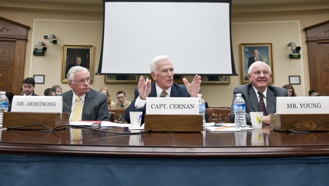 Retired Navy Captain and commander of Apollo 17 Eugene Cernan, center, is flanked by Apollo 11 Commander Neil Armstrong, left, and A. Thomaas Young, as he testifies during a hearing before the House Science and Technology Committee, Tuesday, May 26, 2010, at the Rayburn House office building on Capitol Hill in Washington. The hearing was to review proposed human spaceflight plan by NASA. Photo Credit: NASA/Paul E. Alers