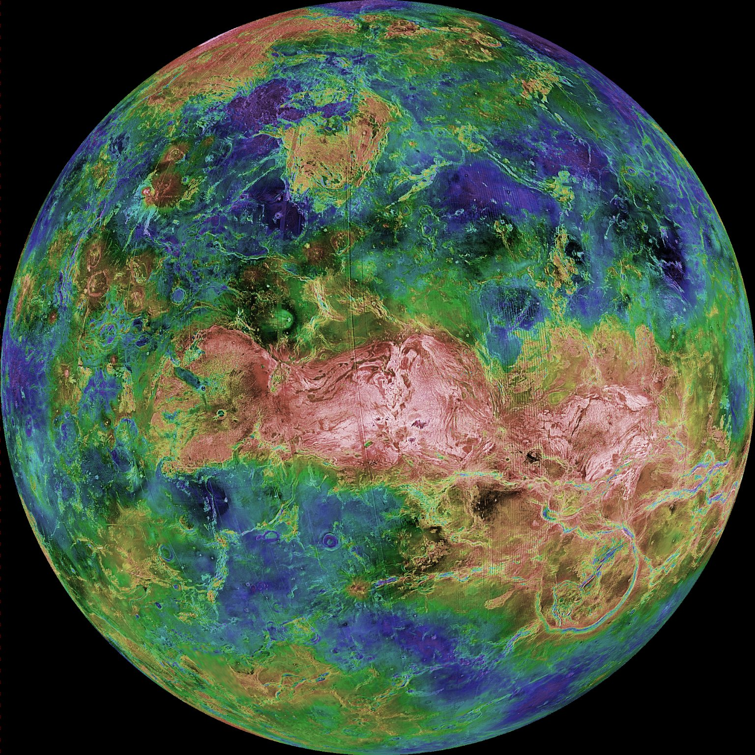 This hemispheric view of Venus, as revealed by more than a decade of radar investigations culminating in the 1990-1994 Magellan mission, is centered at 90 degrees east longitude. The Magellan spacecraft imaged more than 98 percent of Venus at a resolution of about 100 meters; the effective resolution of this image is about 3 kilometers. Credit: NASA/JPL-CalTech