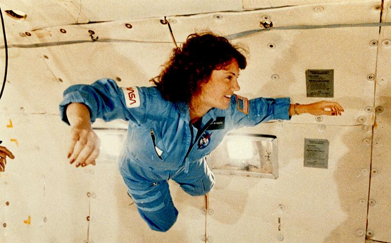 "McAuliffe undergoing pre-flight training experiences weightlessness during a KC-135 ""vomit comet"" flight. Credit: NASA"