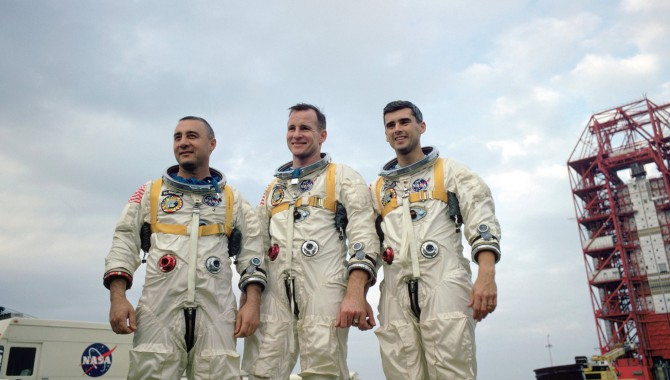 """The prime crew of Apollo 1, Virgil I """"Gus"""" Grissom, Edward H. White, II, and Roger B. Chaffee, during training in Florida. Credit: NASA"""