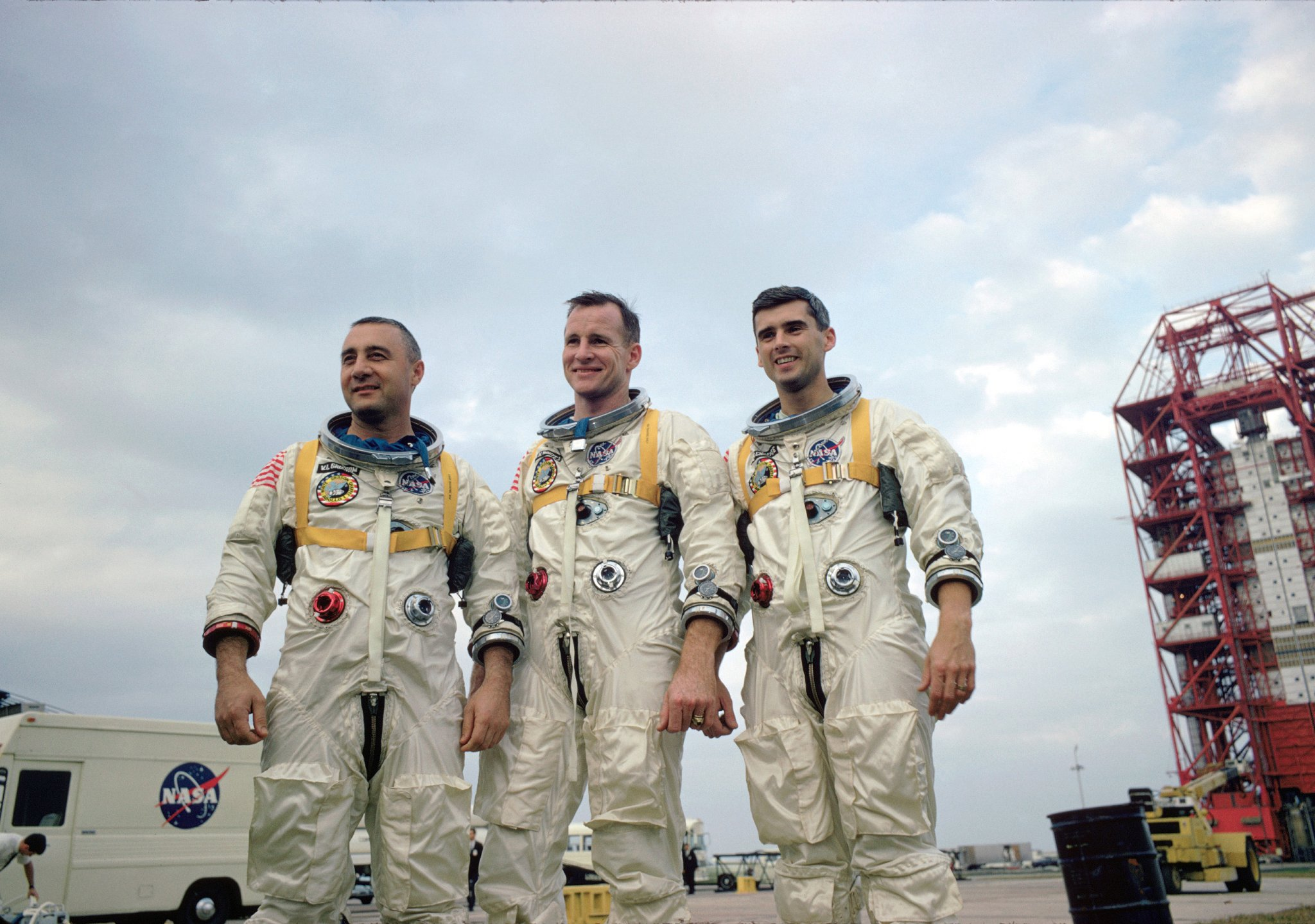 "The prime crew of Apollo 1, Virgil I ""Gus"" Grissom, Edward H. White, II, and Roger B. Chaffee, during training in Florida. Credit: NASA"