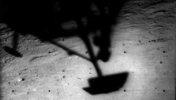 Surveyor 1's shadow against the lunar surface. Credit: NASA/JPL
