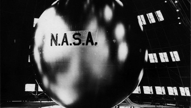Echo 1 fully inflated. The balloon could be seen from the ground with the naked eye as it passed overhead. Credit: NASA