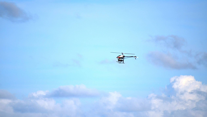 The JSC helicopter in flight on the day of the competition.