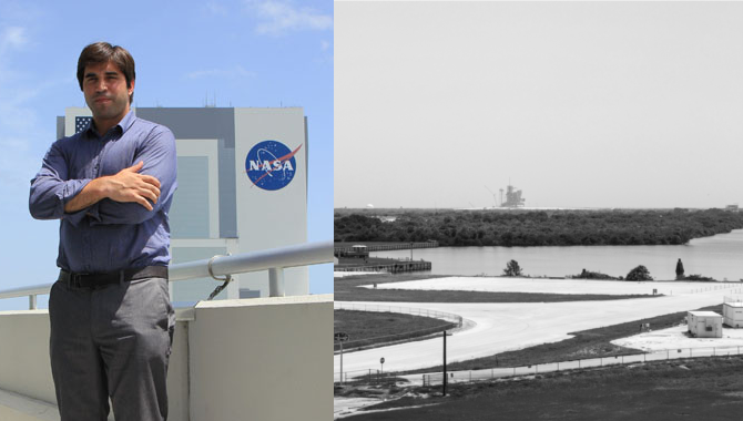 Julio Aprea, Project Controller at the European Space Agency (ESA), standing on the balcony of the Operations Support Building II (OSB II) at Kennedy Space Center for APPEL's eighth International Project Management course. Photo Credit: Image courtesy of Julio Aprea.