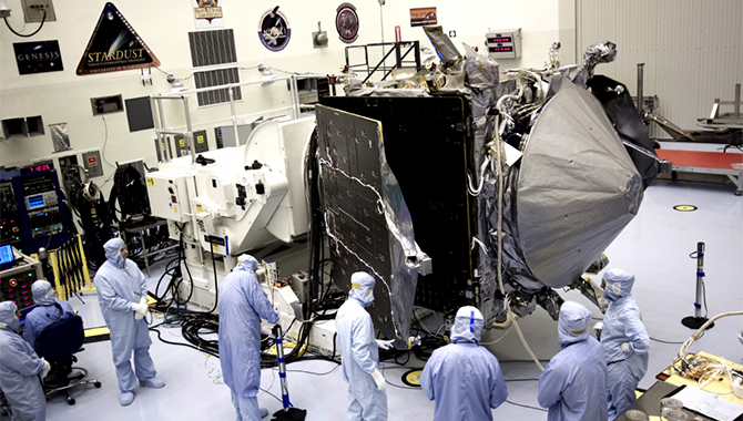 Inside the Payload Hazardous Servicing Facility at NASA's Kennedy Space Center in Florida, engineers and technicians have begun the process to stow the power-generating solar arrays for the Mars Atmosphere and Volatile Evolution, or MAVEN, spacecraft. (September 30, 2013)