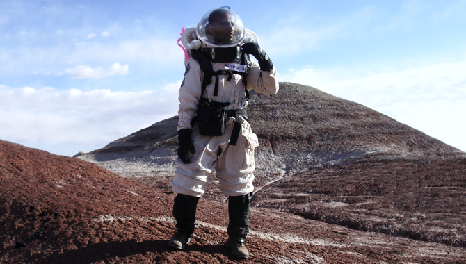 Lealem Mulugeta performing an EVA at the Mars Desert Research Station in Utah. Photo courtesy of Lealem Mulugeta.
