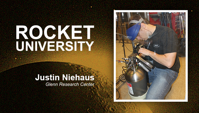 Justin Niehaus removing water and nitrogen hoses during fill tank training. Photo Credit: Sterling Tarver, Jet Propulsion Laboratory