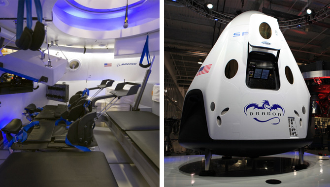 Left: Interior of Boeing's CST-100 spacecraft. Photo Credit: NASA/Robert Markowitz. Right: SpaceX Dragon V2 spacecraft, designed to carry humans into orbit. Image Credit: NASA/Dmitri Gerondidakis.
