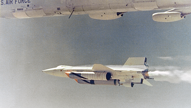 The X-15A-2 in flight with ablative coating and additional external fuel tanks. Photo Credit: NASA