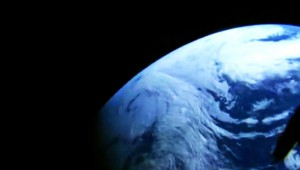 View from an onboard camera as Orion reaches peak altitude of 3600 miles above Earth. Photo Credit: NASA