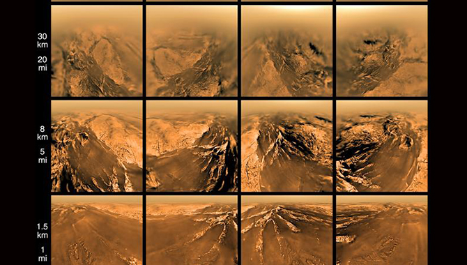 Images of Titan taken by Huygens at different altitudes as the probe descended toward the moon's surface. Photo Credit: ESA/NASA/JPL/University of Arizona