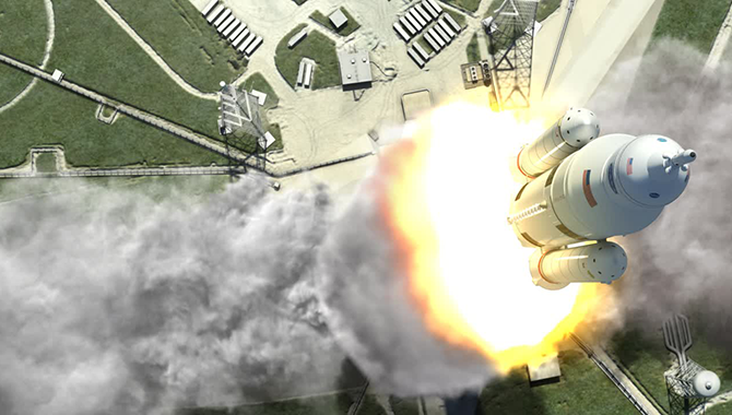 This artist rendering shows an aerial view of the liftoff of the 70-metric-ton (77-ton) lift capacity configuration SLS from the launchpad. The first flight test of NASA's new rocket is scheduled for 2017. Image Credit: NASA/MSFC