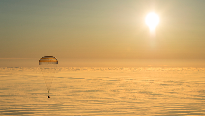 ISS Expedition 42 came to an end on March 11, 2015, as the Soyuz TMA-14M spacecraft landed in Kazakhstan. The mission included a focus on human health management for long-duration spaceflight. Photo Credit: NASA/Bill Ingalls