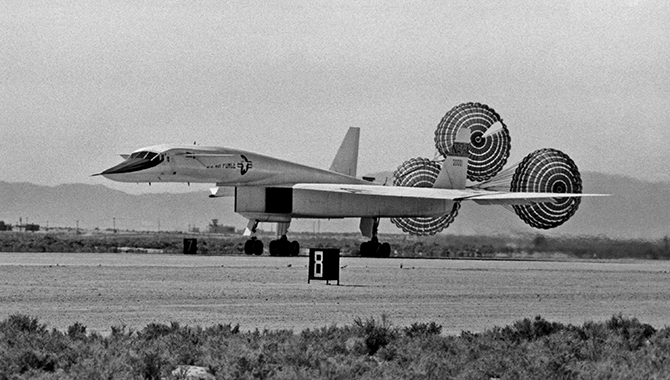 The XB-70 Air Vehicle 1 using drag chutes to slow down after landing. Photo Credit: NASA/Air Force