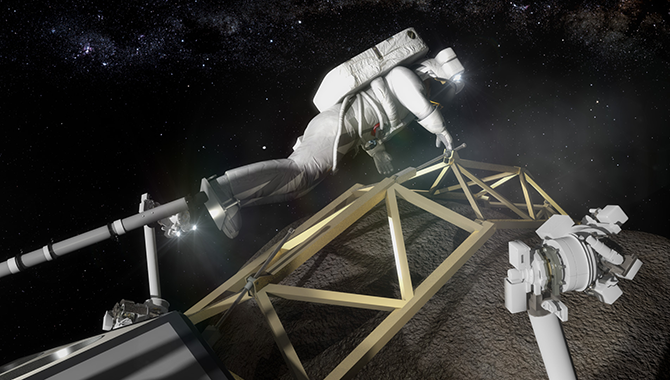 Artist's concept of an astronaut conducting a spacewalk from Orion to examine the boulder obtained during the Asteroid Redirect Mission. Image Credit NASA