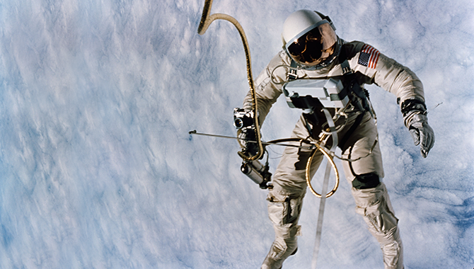 NASA astronaut Ed White conducted the first American spacewalk during the Gemini IV mission in 1965. Photo Credit: NASA