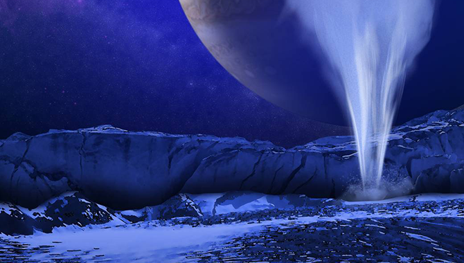 """Artist's concept of a water vapor plume shooting from Europa's surface. Recently selected science instruments for the Europa mission include a """"plume hunter"""" that will help determine the location, activity, and contents of Europa's mysterious plumes. Image Credit: NASA/ESA/K. Retherford/SWRI"""