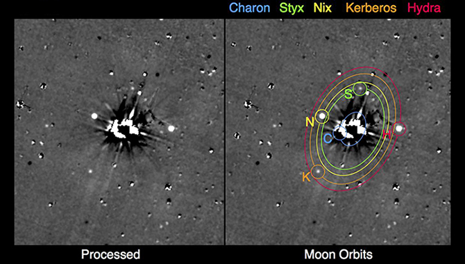 Taken from 47 million miles away, these images were the first set taken by the New Horizons spacecraft itself in a search for potentially hazardous material around Pluto that could interfere with the flyby on July 14. Fortunately, the observations did not reveal any cause for a change in trajectory. Photo Credit: NASA / Johns Hopkins University Applied Physics Laboratory