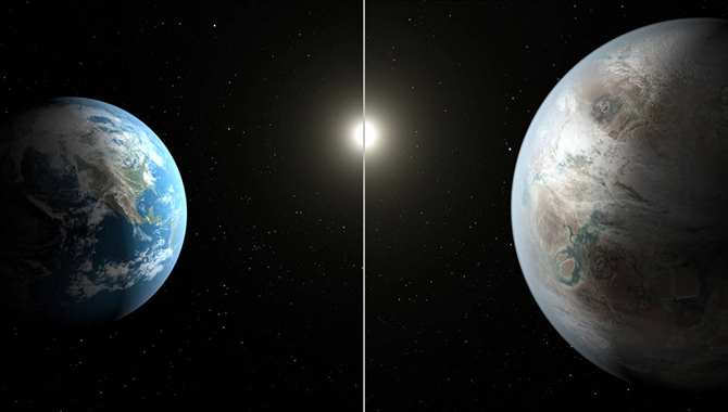 In this artist's concept, Earth (left) is contrasted with Kepler-452b (right) and their respective G2-type stars. Image Credit: NASA/Ames/JPL-Caltech/T. Pyle