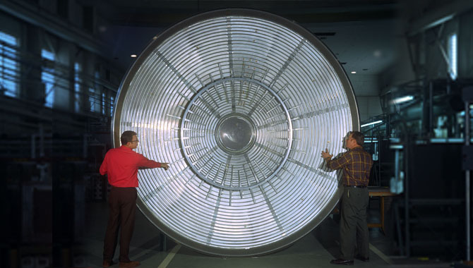 """The Viking Lander 1 aeroshell consisted of a heat shield, designed to protect the lander during entry into the Martian atmosphere, and a """"backshell"""" that contained parachutes and other components. Photo Credit: NASA"""