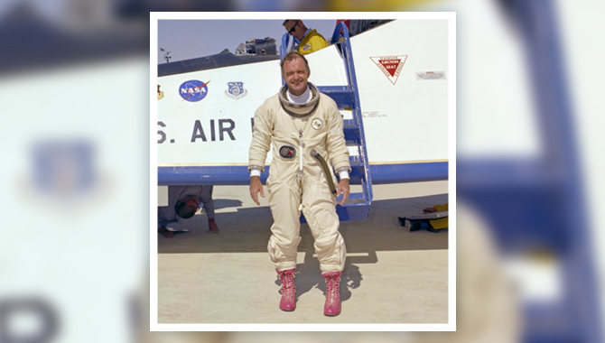 NASA pilot Bill Dana steps away from the final powered flight of the lifting body program on September 23, 1975, wearing his infamous pink boots. Photo Credit: NASA