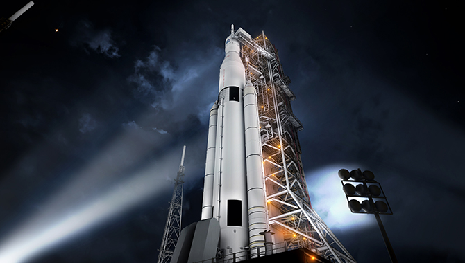 The first rendition of the SLS, known as Block I, is shown in this artist's concept of the finished configuration. Block I is being developed for the initial SLS flights: Exploration Mission 1 (EM-1), planned for 2018, and EM-2, which will occur in 2021 or 2022. Photo Credit: NASA/MSFC
