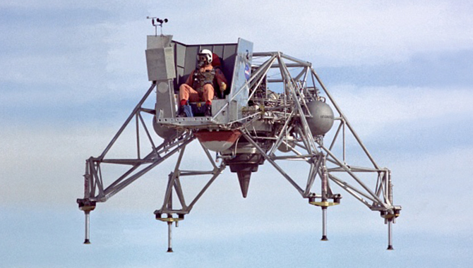 This image of the Lunar Landing Research Vehicle in flight shows the restricted pilot view, which emulated that of the real Lunar Module used by astronauts to land on the moon. Photo Credit: NASA
