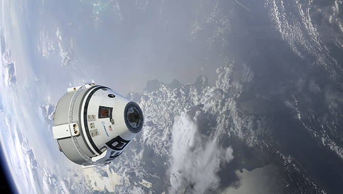 Artist's concept of the Boeing CST-100 Starliner in flight. Image Credit: NASA