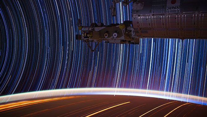 """This unique """"star trails"""" image was taken from the ISS by Expedition 31 Flight Engineer Dan Pettit. In order to create the image, Pettit took multiple 30-second exposures and stacked them using imaging software to evoke the effect of a 10- to 15-minute exposure. Photo Credit: NASA"""