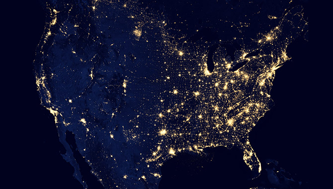Composite image of the U.S. from space based on data compiled by the Suomi NPP satellite in April and October 2012. Image Credit: NASA Earth Observatory/NOAA NGDC