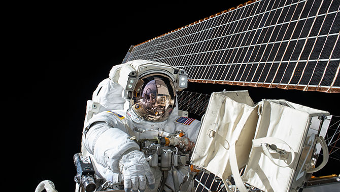 NASA astronaut Scott Kelly participated in an extra-vehicular activity (EVA) on November 6, 2015, as part of the One Year Mission on the International Space Station. The EVA lasted nearly eight hours. Photo Credit: NASA