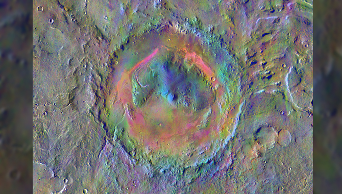 False-color image of Gale Crater based on data from Odyssey's Thermal Emission Imaging System (THEMIS). The colors indicate different minerals in the martian surface. Image Credit: NASA/JPL-Caltech/Arizona State University