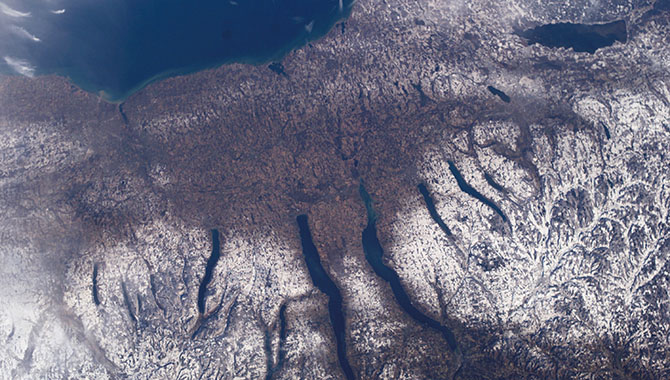 This image of New York's Finger Lakes region was taken from the International Space Station. U.S. Chief Technology Officer Megan Smith noted that the Finger Lakes were the site of the first women's rights convention in 1848. Photo Credit: NASA