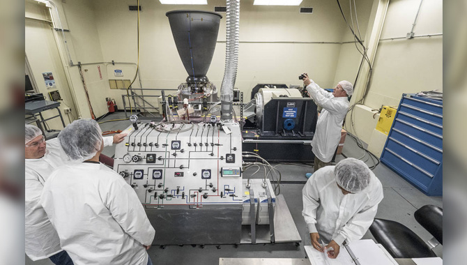 In June 2016, engineers at Johnson Space Center conducted a vibration test involving an Orbital Maneuvering System engine that is destined for use on Orion's service module. Photo Credit: NASA