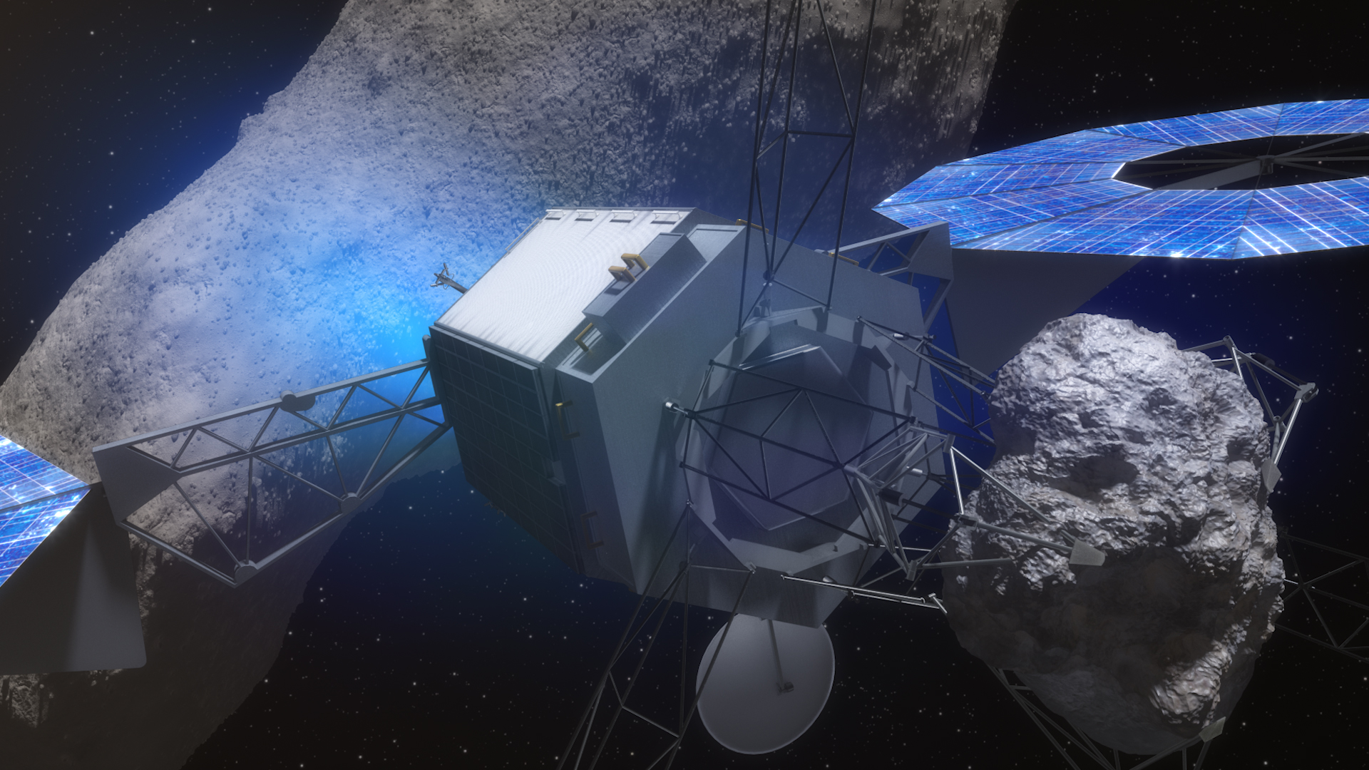 This artist's concept illustrates a potential option for the robotic segment of the Asteroid Redirect Mission (ARM), in which the spacecraft captures a boulder from a large asteroid and carries it to a distant lunar orbit for in-depth examination. Image Credit: NASA