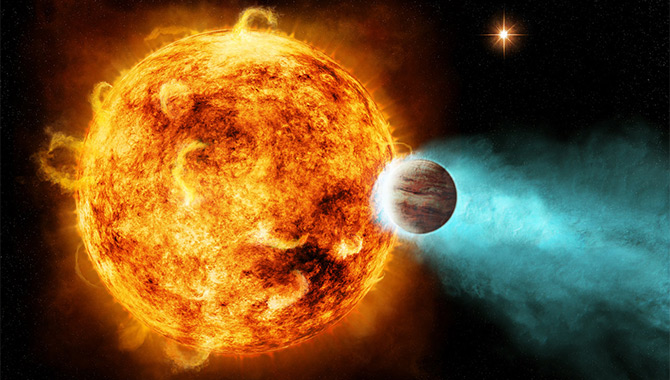 This image shows an artist's concept of a hot Jupiter, a type of exoplanet seen by the Kepler space telescope. Image Credit: NASA/Ames/JPL-Caltech