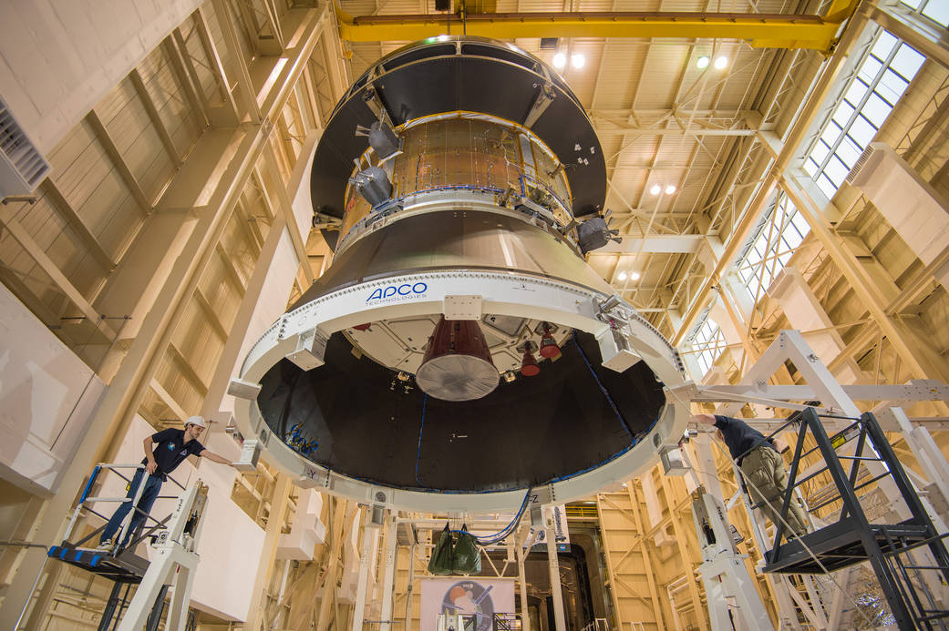 Earlier this year, engineers and technicians at Glenn Research Center's Plum Brook Station prepared to begin a series of tests designed to verify the structural integrity of Orion's European Service Module, which is being provided by ESA for EM-1. Photo Credit: NASA