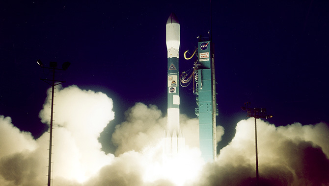 A Delta II launch vehicle carrying the TIMED spacecraft as well as the NASA/CNES Jason-1 satellite prepared to lift off from Vandenberg Air Force Base, California, on December 7, 2001. Photo Credit: The Boeing Company