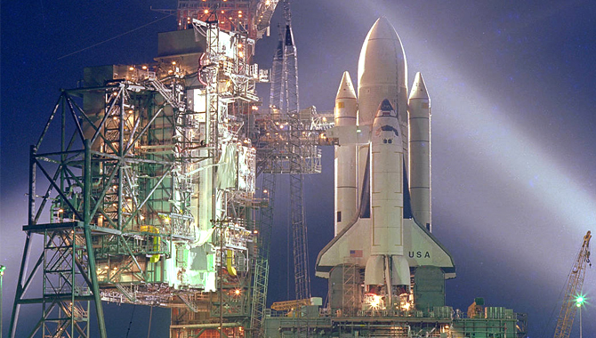 The space shuttle Columbia on Launch Pad A, Complex 39, before its first mission on April 12, 1981. The Apollo Challenger Columbia Lessons Learned Program (ACCLLP) featured an event, STS-1: Legacy and Lessons Learned, on this groundbreaking mission. Photo Credit: NASA