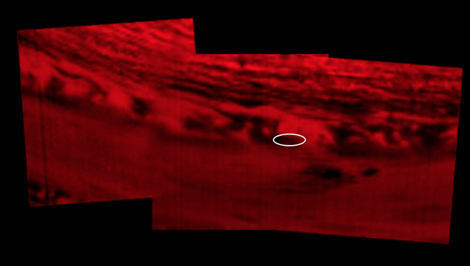 This montage of infrared images shows approximately where Cassini entered Saturn's atmosphere to end its mission on September 15, 2017. Credit: NASA/JPL-Caltech/Space Science Institute