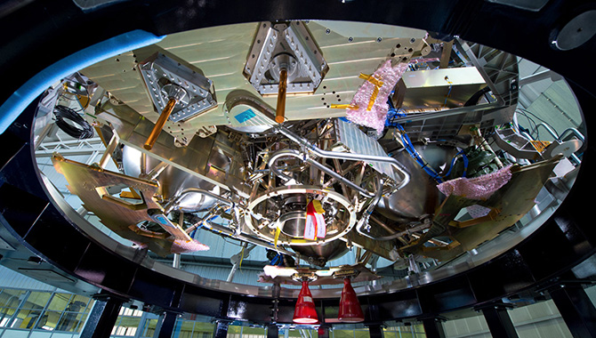 European Service Module (ESM) during testing at Plum Brook Station, Sandusky, Ohio. Credit: ESA