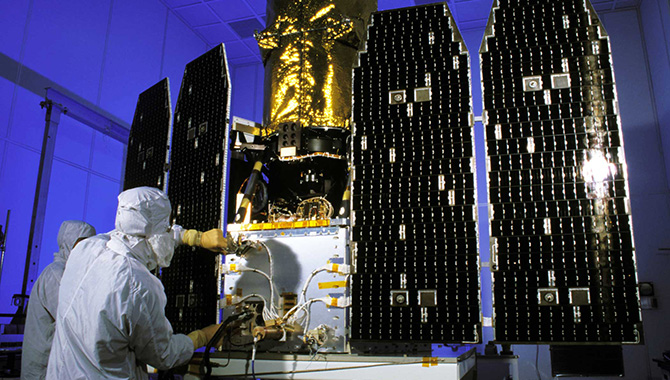 The GALEX spacecraft before its launch in 2003. Photo Credit: NASA/JPL