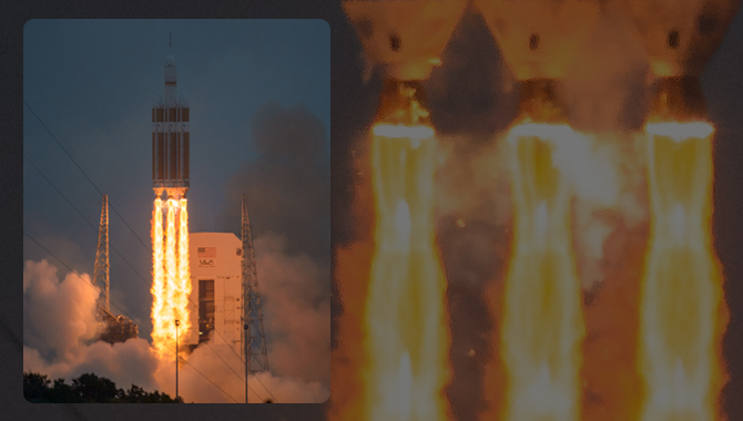 The United Launch Alliance Delta IV Heavy rocket, with NASA's Orion spacecraft mounted atop, lifts off from Cape Canaveral Air Force Station's Space Launch Complex 37 at at 7:05 a.m. EST, Friday, Dec. 5, 2014, in Florida. The Orion spacecraft will orbit Earth twice, reaching an altitude of approximately 3,600 miles above Earth before landing in the Pacific Ocean. No one is aboard Orion for this flight test, but the spacecraft is designed to allow us to journey to destinations never before visited by humans, including an asteroid and Mars. Photo Credit: NASA
