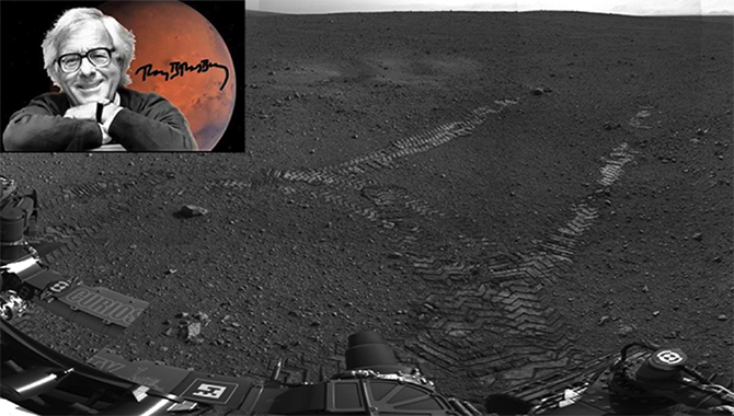 On August 22, 2012, the rover made its first move, going forward about 15 feet (4.5 meters), rotating 120 degrees and then reversing about 8 feet (2.5 meters), from its landing site. The landing site was subsequently named Bradbury Landing, named after Ray Bradbury, whose first book was The Martian Chronicles and who was born on August 22, 1920. Photo Credits: NASA and AP