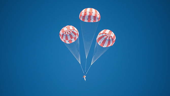 A test to begin qualifying the Orion parachute system for crewed flights was conducted in September 2016, one of eight integrated, qualification drop tests planned over a three-year period. Photo Credit: NASA